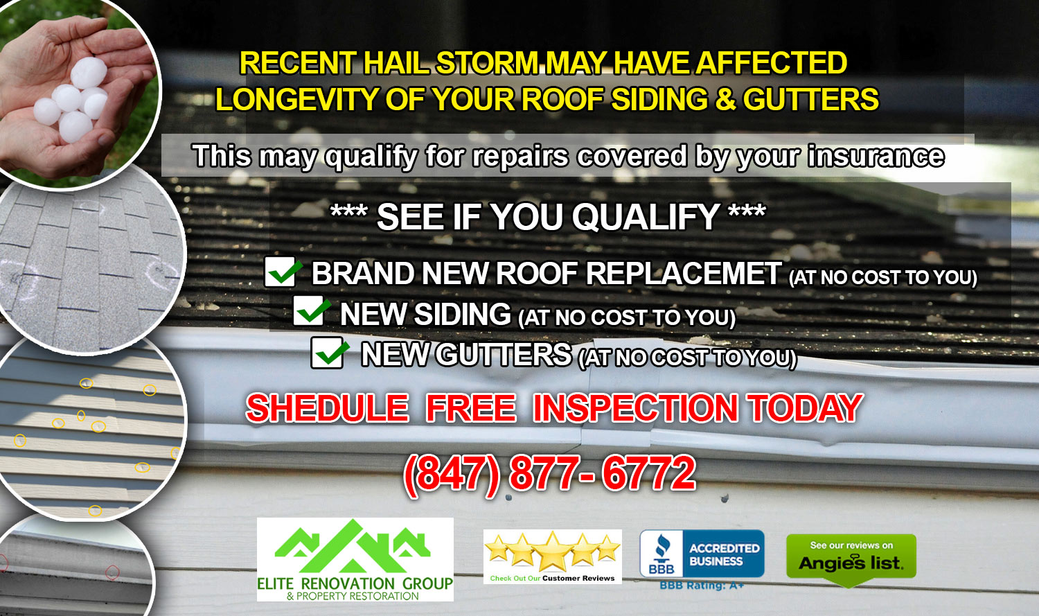 ⛈ CHICAGO PUBLIC ADJUSTERS: ⛈ Severe storms, hail & wind restoration - You may qualify for repairs 💯% Covered by your insurance - (847) 380-6911